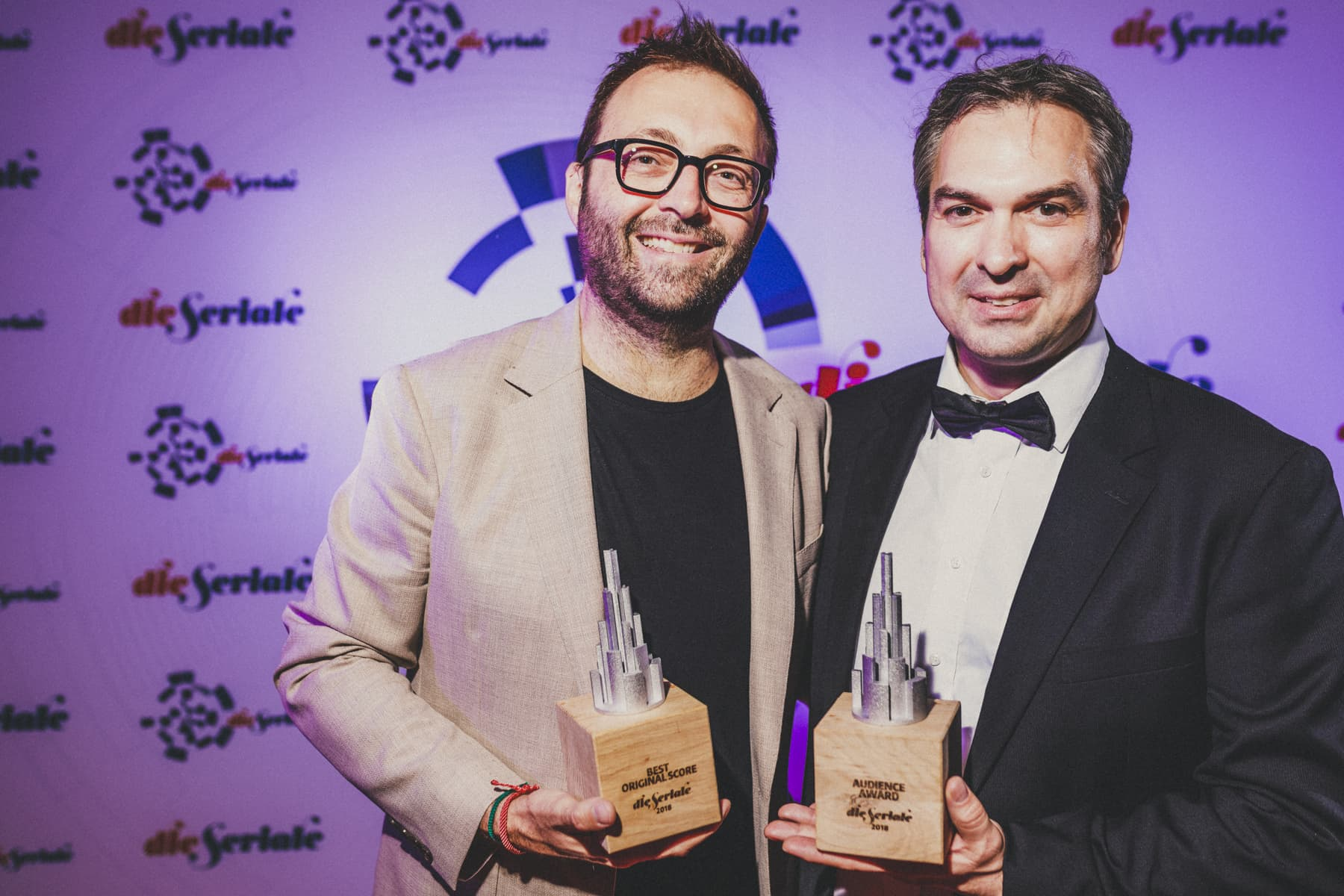"""AUDIENCE AWARD AND BEST ORIGINAL SONG - Luke Eve, director, co-creator & producer of """"High Life"""", from Australia, accepted the award on behalf of Sarah Blasko. On the picture together with festival director Csongor Dobrotka. 