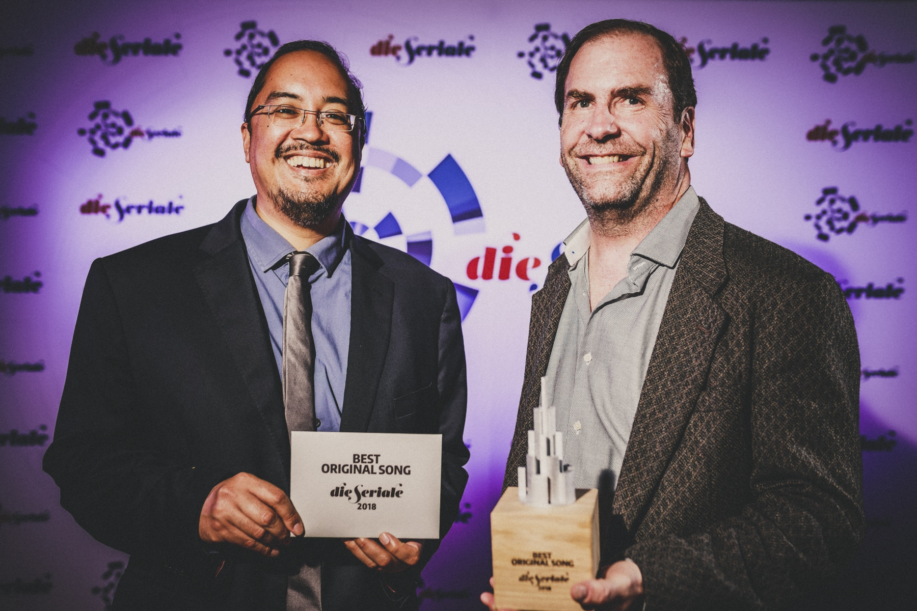"BEST ORIGINAL SONG - Dipu Bhattacharya and Tom Chamberlain, the creators & producers of ""The Pantsless Detective"", from Austin, USA. Original Song by Jonathan M. Roe (music), Tom Chamberlain (lyrics). 